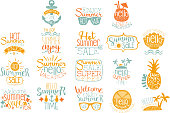 Colorful hand drawn elements for summer calligraphic icon, badge design. Beach vacation and hot sale concepts. Lettering with cocktails, tropical islands, sunglasses and other decorations. Vector set