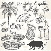 Sketched spanish set. Hand drawn elements typical for spanish culture. Translation of words 'hello. Spain. holiday.'