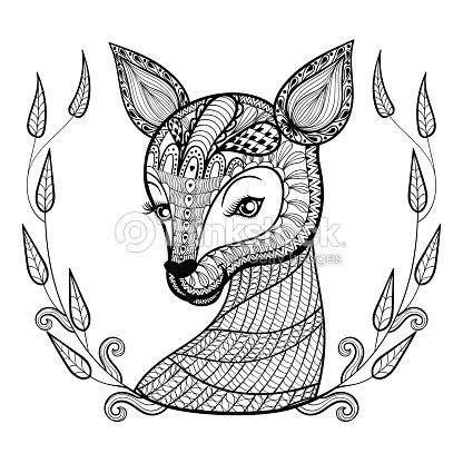 Vlaggetjes Kleurplaten Paarden Disegno A Mano Con Motivo Etnico Ornamentale Volto Carino
