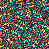Decorative Ancient Hand Drawn Ethnic Seamless Pattern