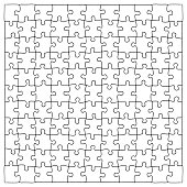 Hand drawn jigsaw puzzle pieces, 121 separate pieces that can be extracted
