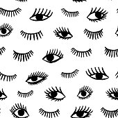 Hand drawn eye doodles seamless pattern in retro style. Vector beauty illustration of open and close eyes for cards, textiles, wallpapers, backgrounds.