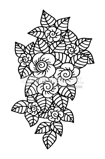 Dibujado A Mano Fantasía Flores Para Colorear Página Ilustración ...