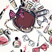 Fashion vector pattern with hand drawn female bag and cosmetics lipstick cream bow perfume and other