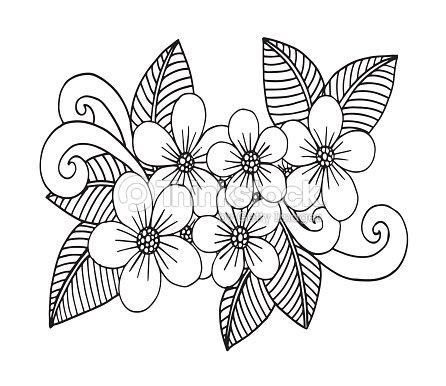 Doodle Flores Dibujada De La Mano Para Colorear Páginas Para Libro ...