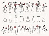 Set of hand drawn flowers and vases for Valentine's Day, to create your own bouquet