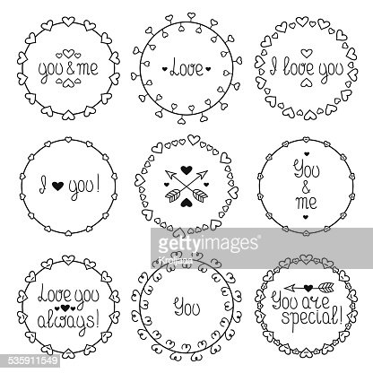 Hand drawn frame of romantic pattern with hearts. Doodle style. : Vector Art
