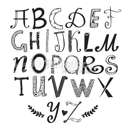 Hand Drawn Funny Doodle Letters Children Cartoon Alphabet