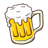 Vector illustration of a hand drawing beer mug with froth