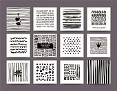 Creative black and white collection of hand drawn tribal textures, paint dabs and abstract stains. Suitable for artistic poster, flyer, invitation, banner, business and greeting card templates. Vector