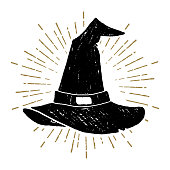 Hand drawn Halloween icon with a textured witch's hat vector illustration.
