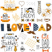 hand drawn happy fathers day doodle items vector