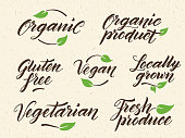 Hand drawn organic food letterings. Label, logo template against recycled paper background. Eps 10 vector.