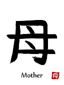 Hand drawn Hieroglyph translate Mother . Vector japanese black symbol on white background with text. Ink brush calligraphy with red stamp. Chinese calligraphic letter icon
