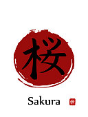 Hand drawn Hieroglyph translates -sakura.