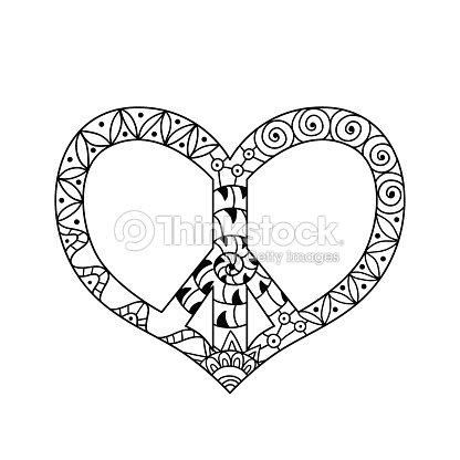 Símbolo De Paz Mano Hippie Dibujado En Forma De Corazón Para Anti ...