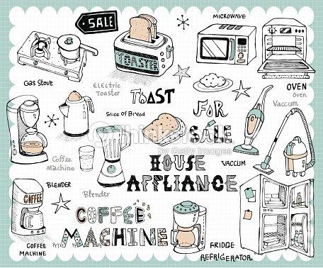 Hand drawn home appliances set vektorgrafik thinkstock - Home appliances that we thought ...