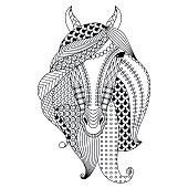 Hand-drawn horse. Coloring book for adults, vector illustration, isolated on a white background.