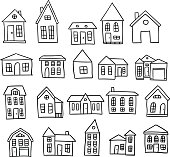 Hand drawn house cartoon architecture vector set