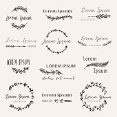 Hand drawn icon templates in bohemian style set. Vector boho frames, feathers, branches, flowers, wreaths for icon, invitations (save the date), label, wedding in tribal style. Hand made illustration
