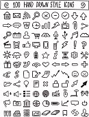 Hand drawn design network icons vector set