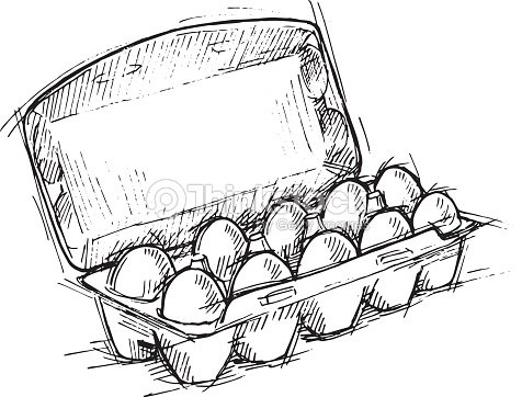 hand drawn illustration box of eggs on white background vector art