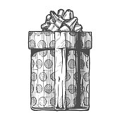 gift box. Vector illustration in ink hand drawn style.