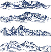 Hand drawn illustrations of different mountains landscape. Mountain travel, rock peak and highlands range vector