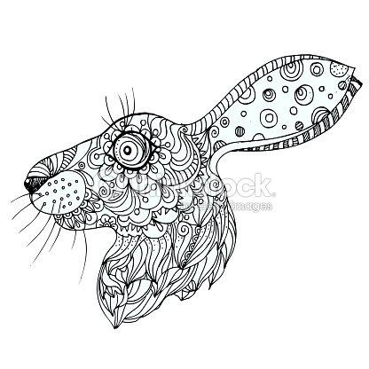 Tinta De Dibujado A Mano Doodle Conejo Sobre Fondo Blanco Página ...