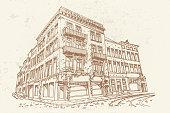 Hand drawn ink line sketch of street scene in Antwerpen, Belgium