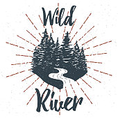 Hand drawn inspirational label with textured forest. Vector illustration
