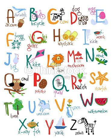 Hand Drawn Kinder Alphabet Vektorgrafik | Thinkstock