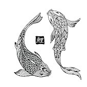 Hand drawn koi fish. Japanese carp line drawing for coloring book. Doodle. Characters meaning carp