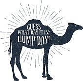 """Hand drawn label with textured camel vector illustration and """"Guess what day it is? Hump day!"""" funny lettering."""