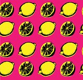 Vector hand drawn lemon seamless pattern. Sketch. Pop art. Perfect for wall art, kitchen art, print, posters. Hand sketched fruits illustration collecton. Vector design.Vector hand drawn lemon seamles