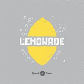 Hand drawn lemon silhouette with lemonade lettering. Hipster package craft design. Retro label template. Soda drink branding. Vector illustration