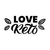 Hand drawn lettering card. The inscription: Love Keto. Perfect design for greeting cards, posters, T-shirts, banners, print invitations.