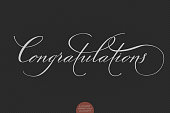 Hand drawn lettering Congratulations. Elegant modern handwritten calligraphy. Vector Ink illustration. Typography poster on dark background. For cards, invitations, prints etc.