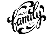 Hand drawn lettering Happy Family Day. Vector Ink illustration. Black typography on white background. Family design template for gift cards, invitations, prints etc