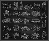 Hand drawn line graphic illustration of assorted food, desserts and drinks, many vegetarian entrees. Vector symbols set on a chalkboard background