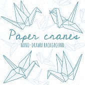 Hand drawn line paper crane set. Origami on white background