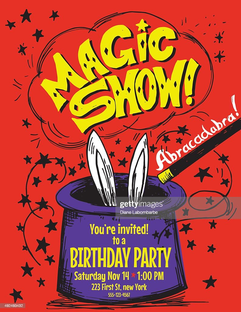 Hand Drawn Magic Show Birthday Party Invitation Template Vector