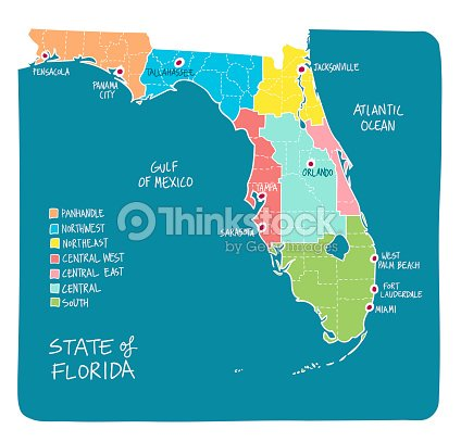Hand Drawn Map Of Florida With Regions And Counties Vector Art