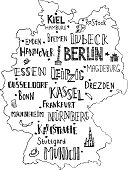 Hand drawn map of Germany with lettering of main cities and main symbols. Handwritten name of towns Germany. Vector illustration for poster design or postcard.