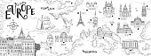 Hand drawn map of Southern Europe with selected capitals and landmarks, vintage web banner