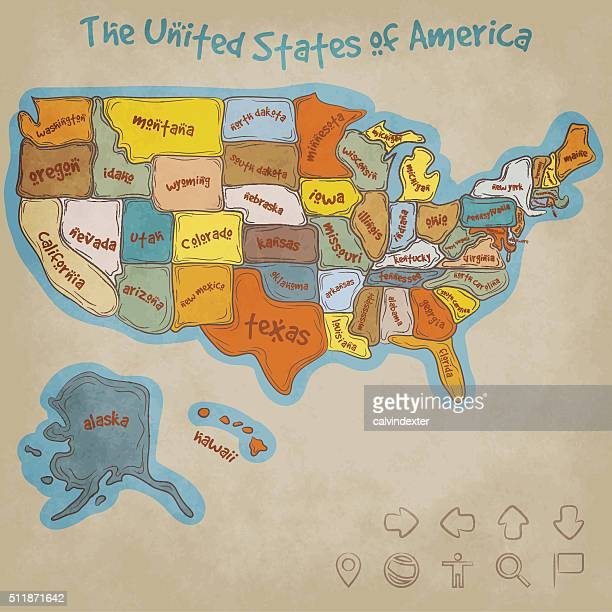 Hand Drawn Map of the United States of America