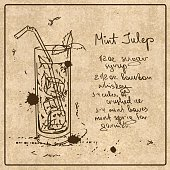 Illustration with hand drawn sketch Mint Julep cocktail. Including recipe and ingredients on the grunge vintage background