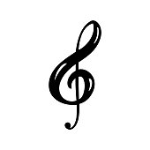 Hand drawn Music key logo and icon vector Illustration. Musical theme flat design template. Isolated on the white background.