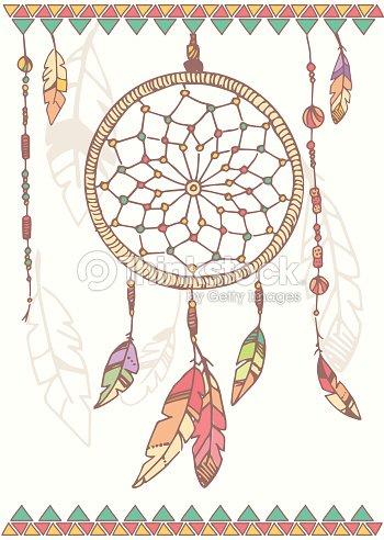 Mano disegnata nativi americani acchiappasogni perline e for Acchiappasogni disegno