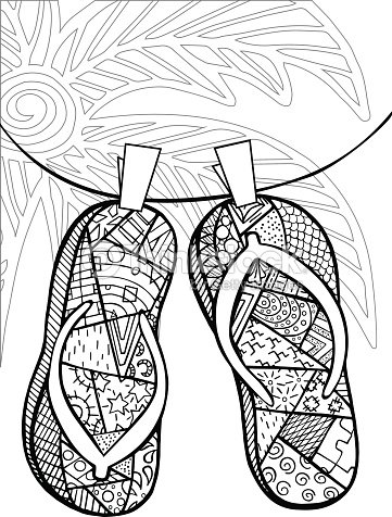 a1e486a69 Hand Drawn Of Flip Flops For Coloring Book stock vector
